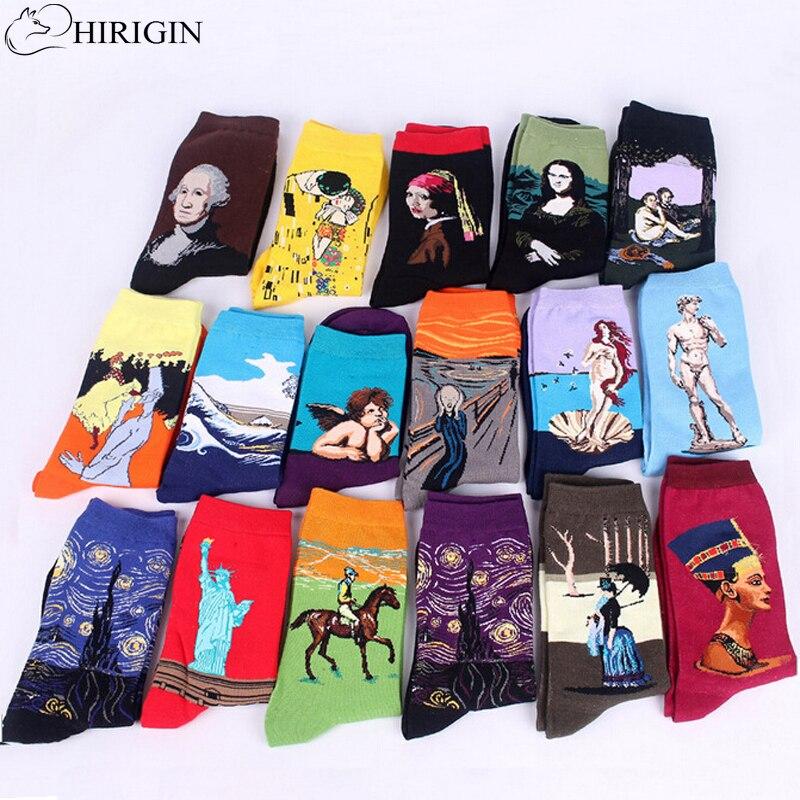 HIRIGIN 3d Print Art Socks Women Men Cotton Harajuku Style Famous Painting Sock Van Gogh Mona Lisa Da Vinci Funny Socks Vintage