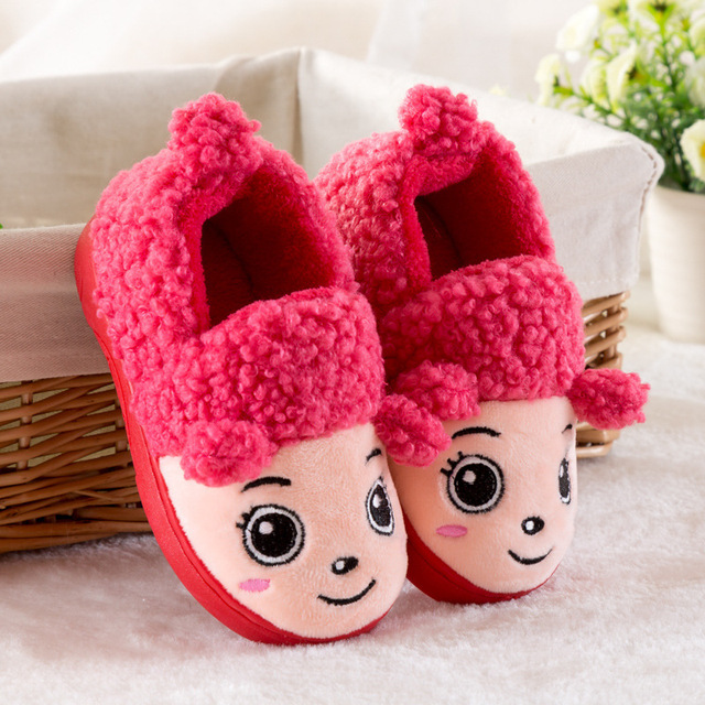 52a3b91d230 Winter Children Slippers Boys Girls House Cotton Sheep Shoes Kids Slippers  Indoor Baby Fur Warm Slippers