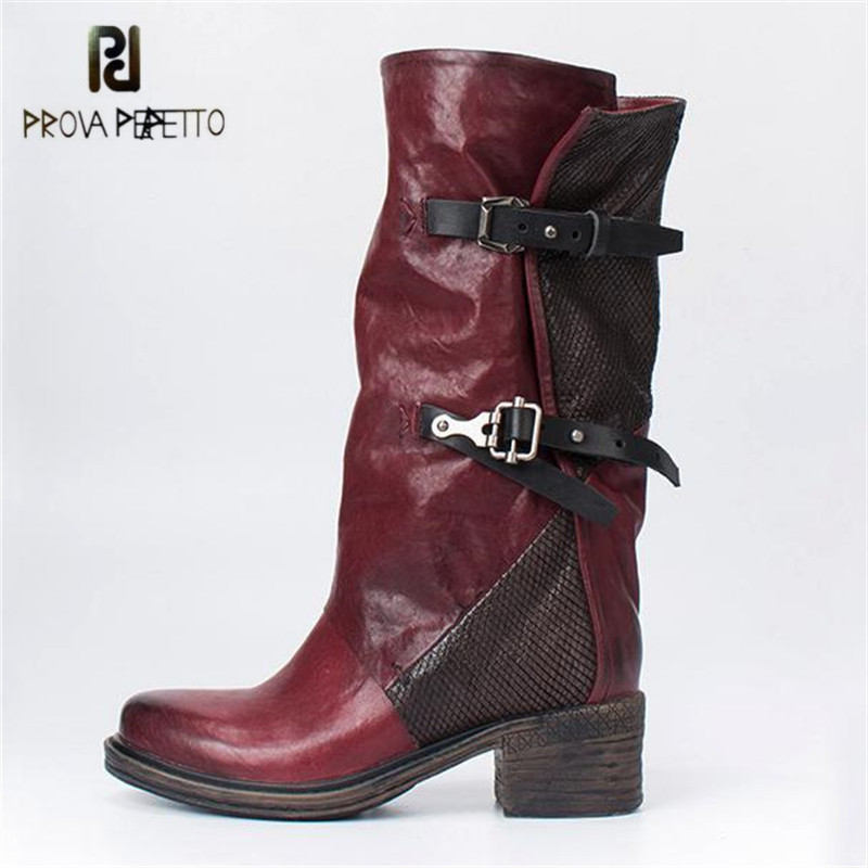 Prova Perfetto Patchwork Women Genuine Leather High Boots Retro Belt Buckle Martin Boots Female Platform Rubber Shoes Woman prova perfetto black handmade women genuine leather mid calf boots buckle straps martin boots women platform rubber shoes woman