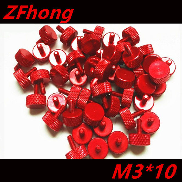 20PCS  M3*10 Red Colour aluminum knurled Thumb hand tighten screw mgs01 sword for transformer colour red