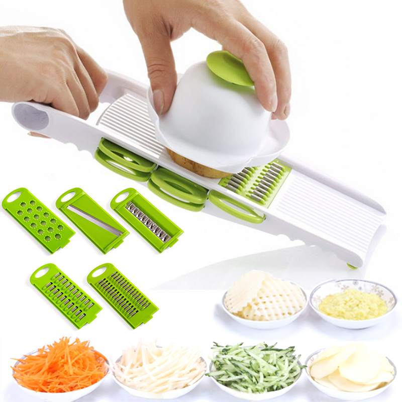 Onion Carrot Popular Shredders With 5 Blades Potato Promotional Vegetable Slicer Grater Stainless Steel Blades Multifunction