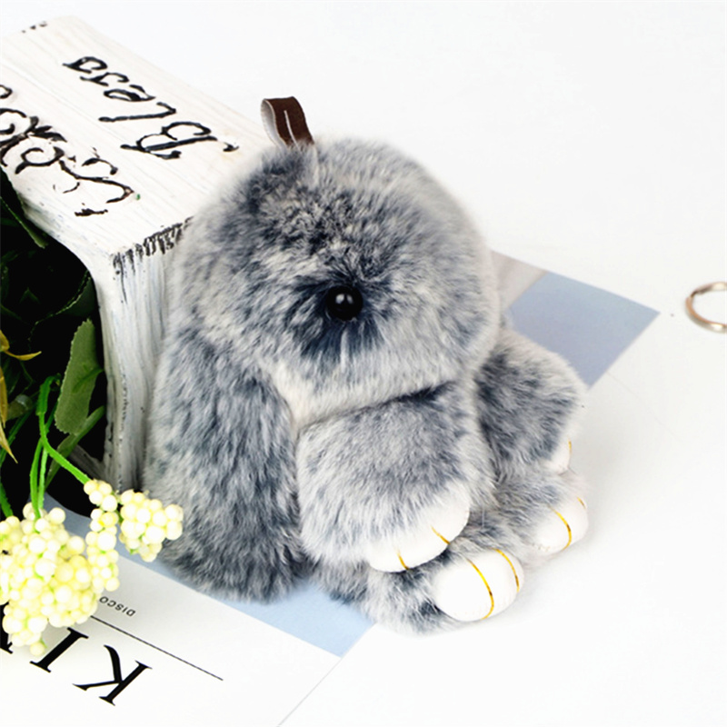 Cute Fluffy Bunny Keychain Rex Genuine Rabbit Fur Key Chains For Women Bag Toys Doll Fluffy Pom Pom Lovely Pom Pom Keyring