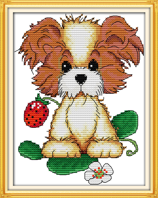 The Puppy With Strawberry Cross Stitch Kit Cartoon 14ct 11ct Count