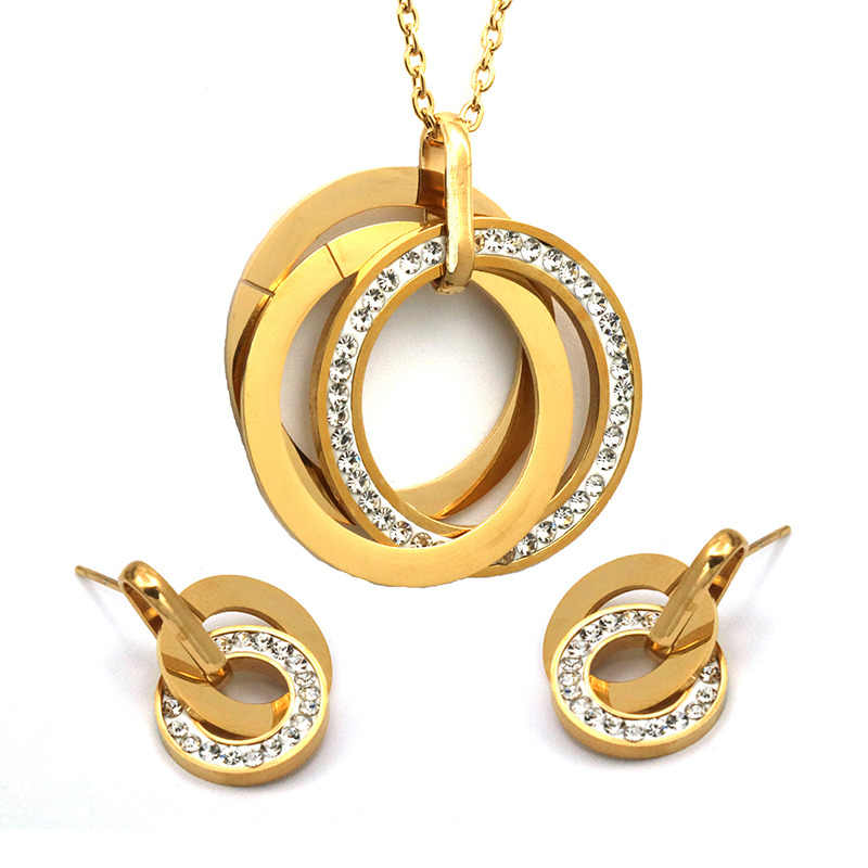 New Arrival Round Crystal Necklace With Earring Sets,Stainless Steel Jewelry Sets
