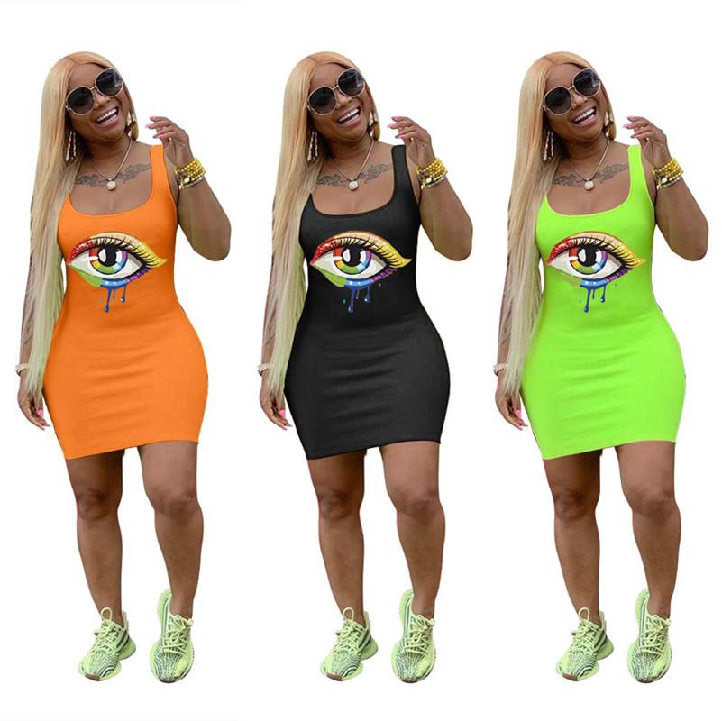 New Sexy Women Dress Volor Big Eyes Printed Sleeveless Tank Bodycon Midi Mini Dresses Clubwear S-3XL