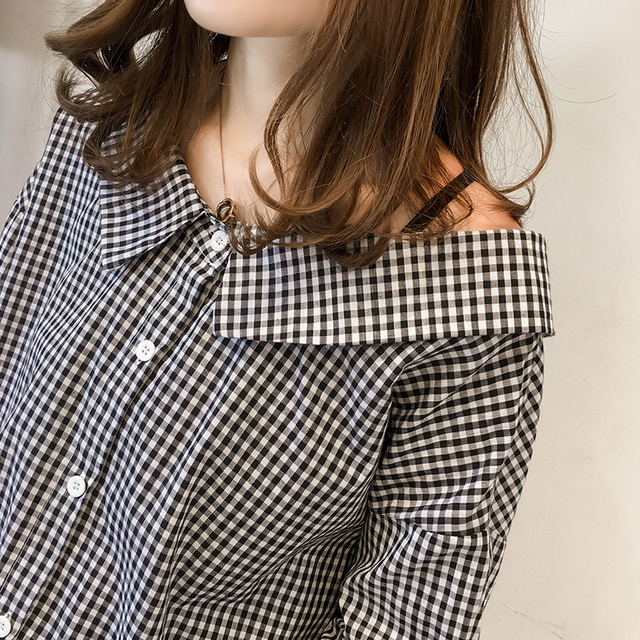 2018 Fashion Peter Pan Collar Loose Plaid Blouse Bow Three Quarter Sleeve Blouse Women Spring and Autumn Casual Shirt Women Tops