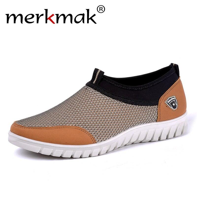 Merkmak Men's Casual Shoes Sneakers Men Summer Slip-On Mesh Breathable Shoes Soft Hard-Wearing Walking Men Loafers Drive Shoes