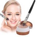 Natural Flawless Professional BB Concealer Cream Base Face Cream Powder Facial Makeup Tool with Foundation Powder Blush Brush