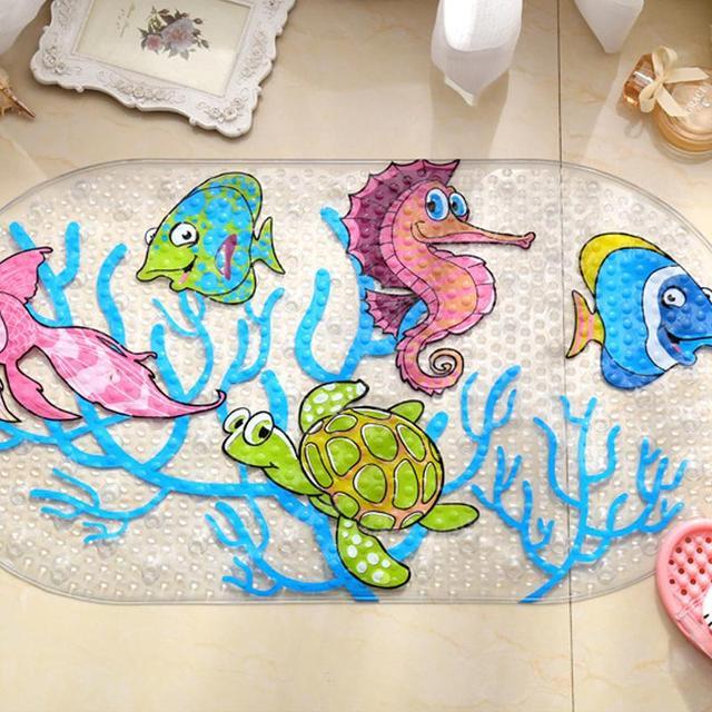 Cartoon Anti-Slip PVC Bath Mat With Suction Cups Seaworld Turtle Fish Carpet Used For Bathroom