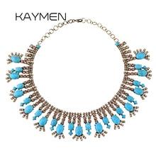 KAYMEN Fashionable Zinc-alloy Inlaid Rhinestone Calaite Vintage Necklace for Women Handmade Statement Choker Necklace Party цена 2017