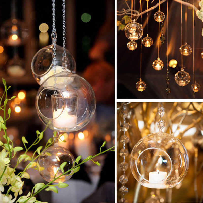 6/8/10/12cm Hanging Tealight Holder Glass Globes Terrarium Wedding Candle Holder Candlestick Vase Home Office Hotel Bar Decor