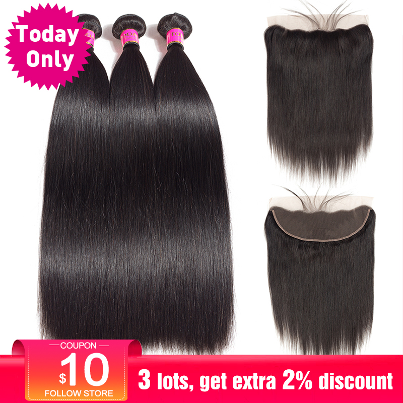TODAONLY Peruvian Hair Bundles With Frontal Straight Hair Bundles With Frontal Ear to Ear Lace Frontal