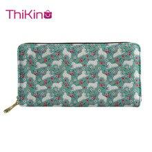 Thikin Animals Long Wallet for Lady 3D Floral Paint Women Purse Girls Shopping Notecase Cute Teen Girl Burse Handbag