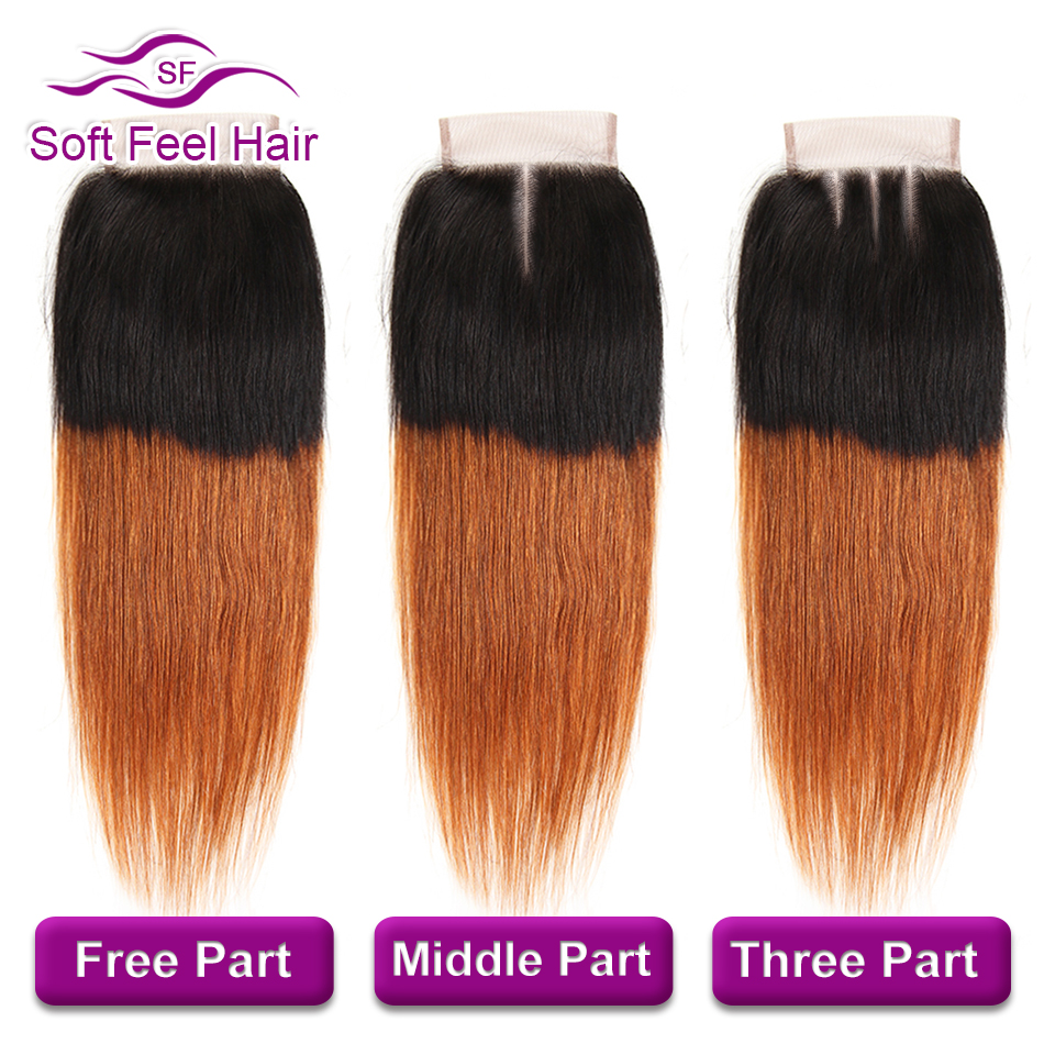 Soft Feel Hair T1B/30 Ombre Malaysian Straight Hair Bundles With Closure Brown Human Hair 3 Bundles With Closure Remy Extensions