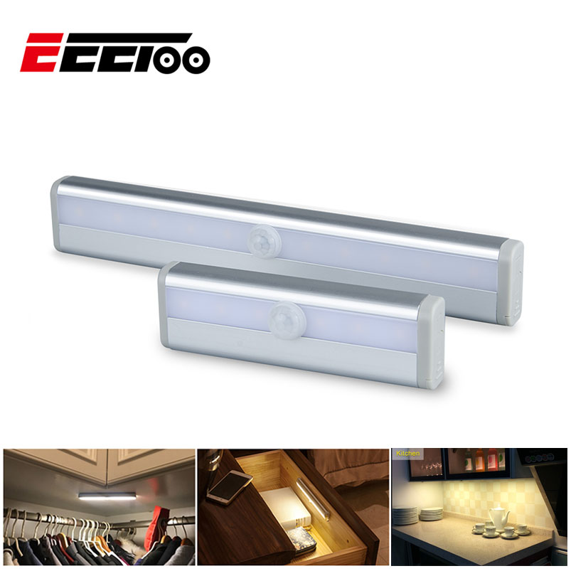 EeeToo LED Wireless Infrared Sensor Light Battery Power Aluminum Alloy Night Light For Cabinet Wardrobe Closet Bedroom Lights