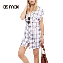 asmax 2017 Fashion Dress Women Casual Loose Plaid Straps Pockets Single Breasted Vestido Cute Female Summer Shirt Dresses