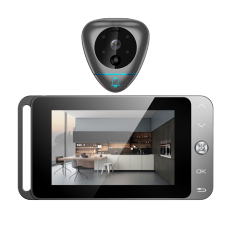 Visionneuse de judas sans fil à sonnette vidéo intelligente de 4 pouces avec prise automatique de Photos/enregistrement et détection de mouvement