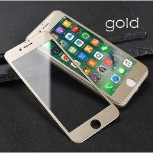 Funda completa de vidrio templado 3D para iPhone 8 Plus, Protector de pantalla a prueba de arañazos con borde de arco, película de vidrio dorado, para iPhone 6, 6s Plus, 7, 8