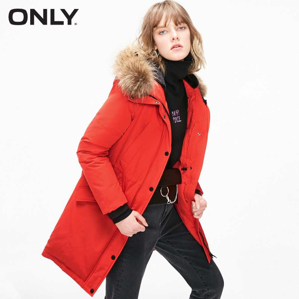 ONLY  Women's Fur Collar Long Hooded Down Jacket |118312523