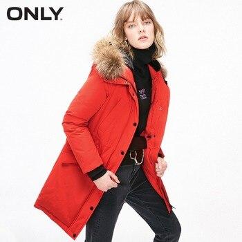 ONLY  Women's Fur Collar Long Hooded Duck Down  Jacket |118312523