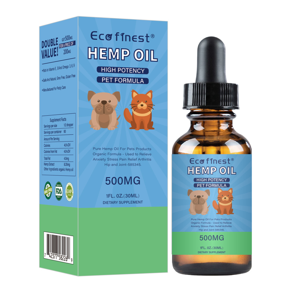 Hemp Essential Oil for Dogs Natural Herbs of Pet Care Oil Anxiety Relief Pain Joint hip Strengtheens immunity image