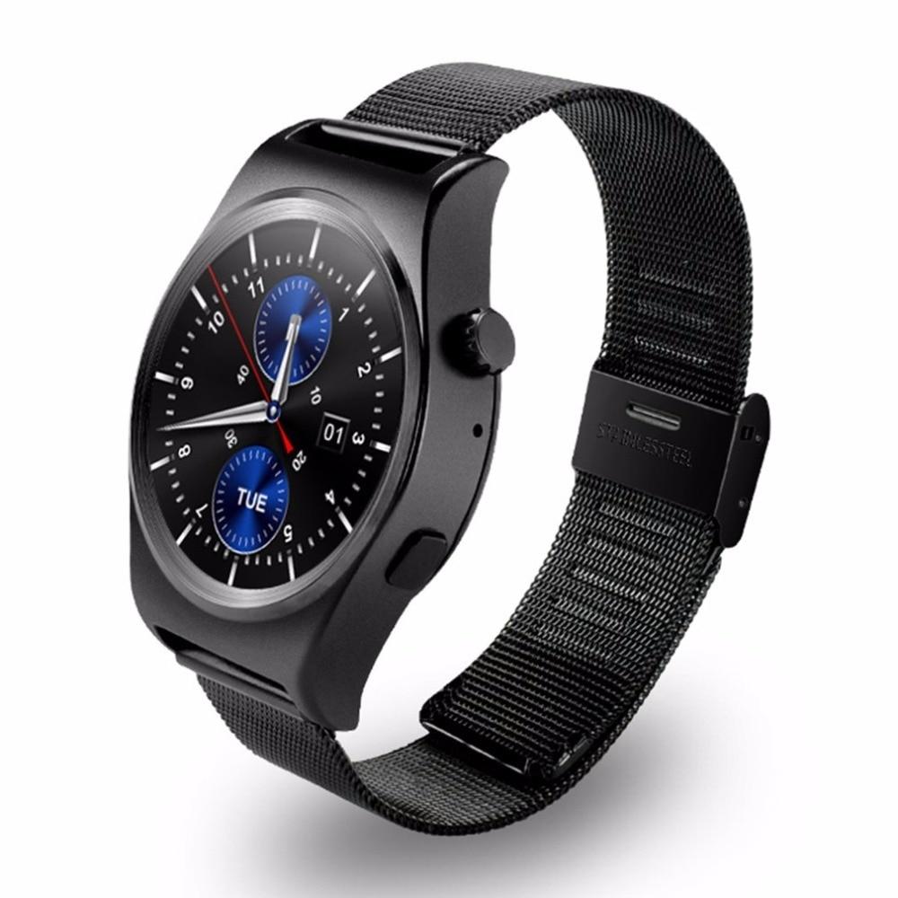 Acier Bande Montre Smart Watch Avec LCD HD Plein Cercle Affichage Bluetooth 4.0 Intelligente Sommeil Moniteur avec Bouton Régulateur