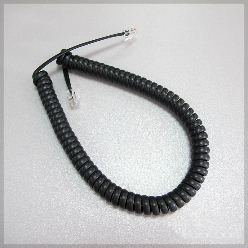 Black Long type Telephone cord pure Copper wire phone volume curve Microphone 4P4C connector telephone cable 55cm handset line quality 2m 4c telephone line rj11 6p4c connector phone cable pure copper wire for pbx analog digital phone customizable 1 100m