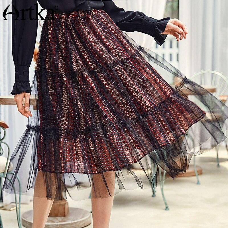 ARTKA 2018 automne nouveau femmes Vintage dentelle a ligne taille haute maille moyen Long all match jupe QA10387Q-in Jupes from Mode Femme et Accessoires on AliExpress - 11.11_Double 11_Singles' Day 1