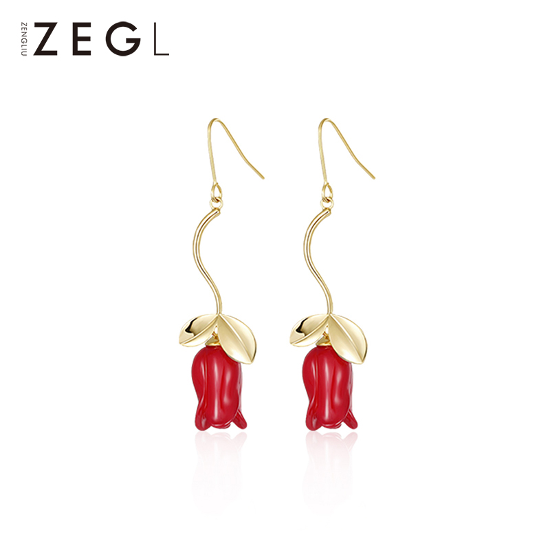 ZEGL new red earring rose web celebrity earring pendant ladies long earrings