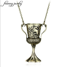 feimeng jewelry Horcrux transformation Helga Hufflepuff Cup Necklace Vintage Bronze Horcrux Conversion Helga Pendant Accessories