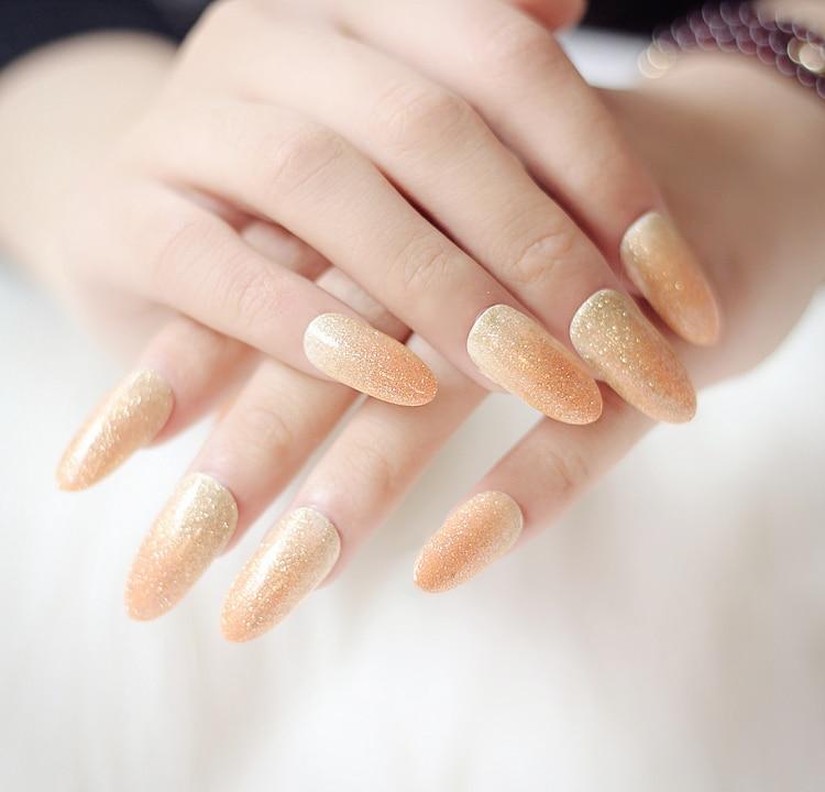 Shining Champagne pure color UV gel false nails set fashion cute ...
