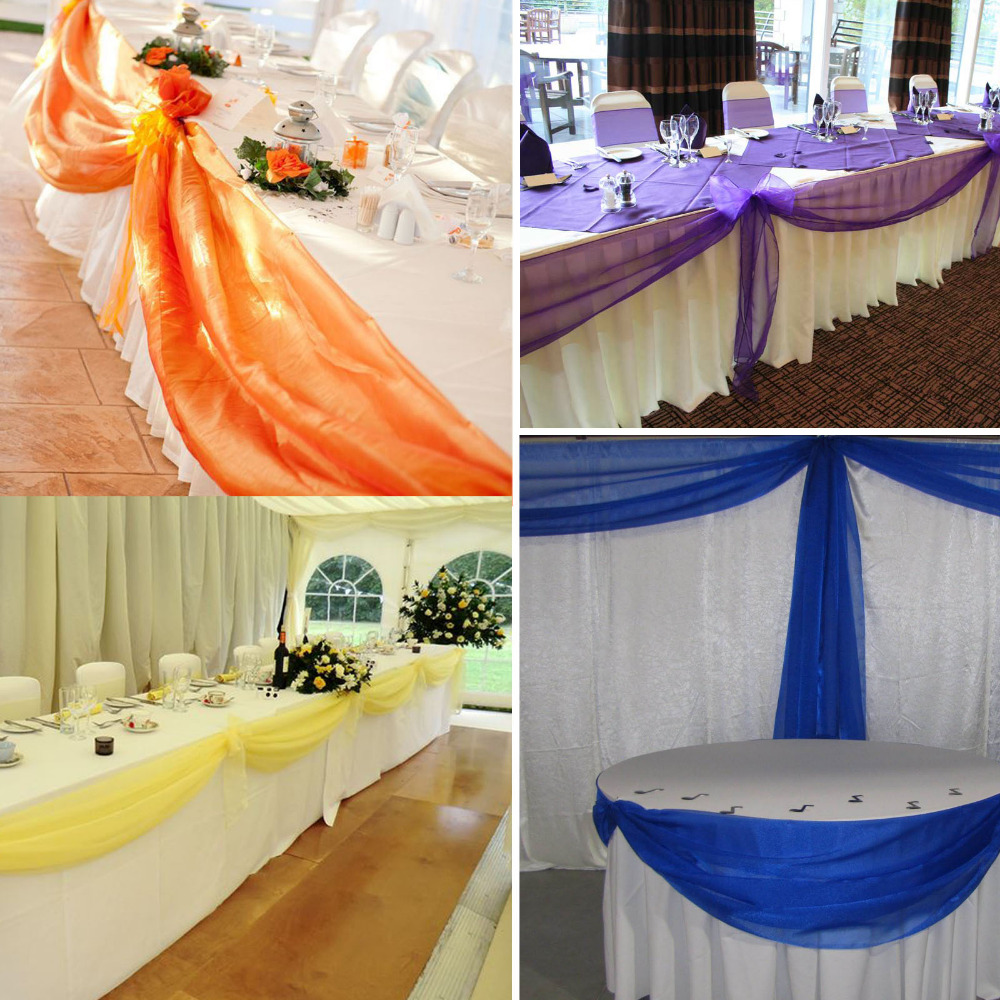 500cm135cm Wedding Guest Sign Table Skirt Banquet Party Background DIY Long Tulle Decoration Swags Sheer Organza Swag In Fabric From Home Garden