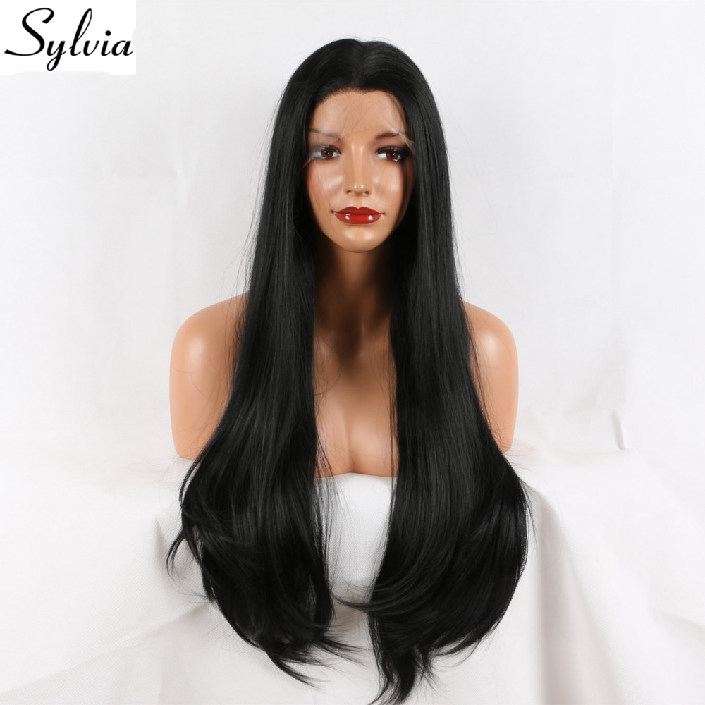 Sylvia Black Natural Straight Synthetic Lace Front Wigs Middle Parting 180 Density Half Hand Tied Heat