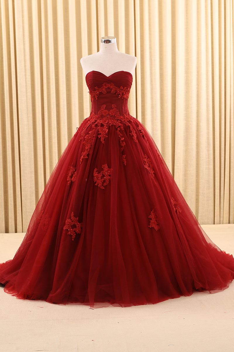 Vintage Gothic Dark Red Ball Gown Wedding Dresses With Color Long ...