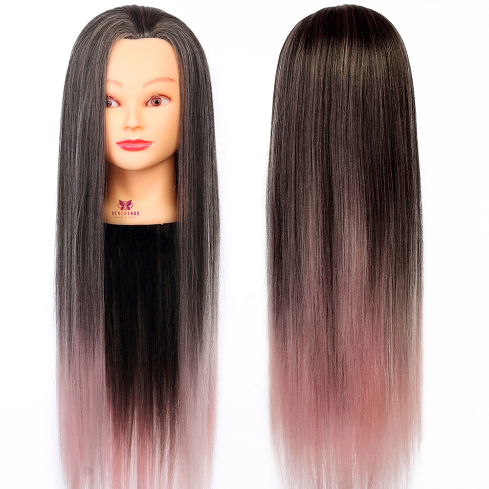 Ombre Black Pink 28 70cm Long Hair Mannequin Heads Hairstyles Braiding Salon Hairdresser Hairdressing Doll Practice Head Model In Mannequins From Home