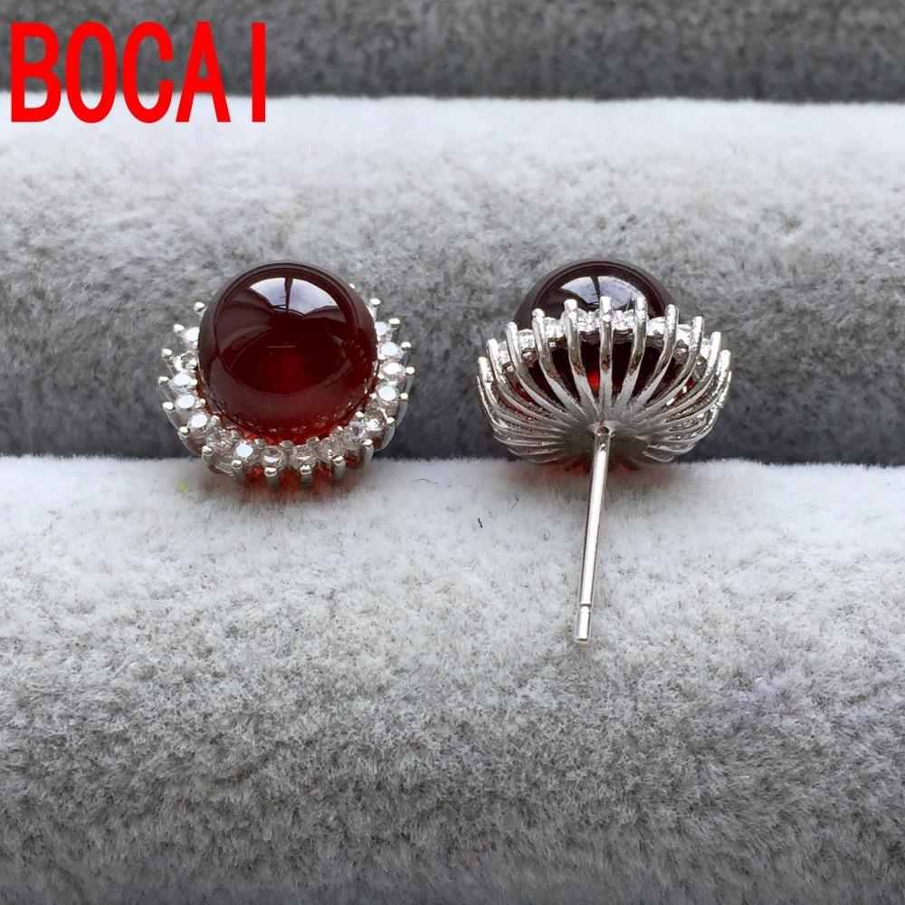 S925 Natural Garnet Stud Earrings Sterling Silver Rose Stone Las Orange In From Jewelry Accessories On Aliexpress