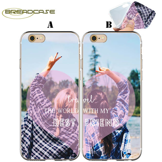 Fundas Best Friend Sisters BFF Clear Soft Silicone Couple Cover