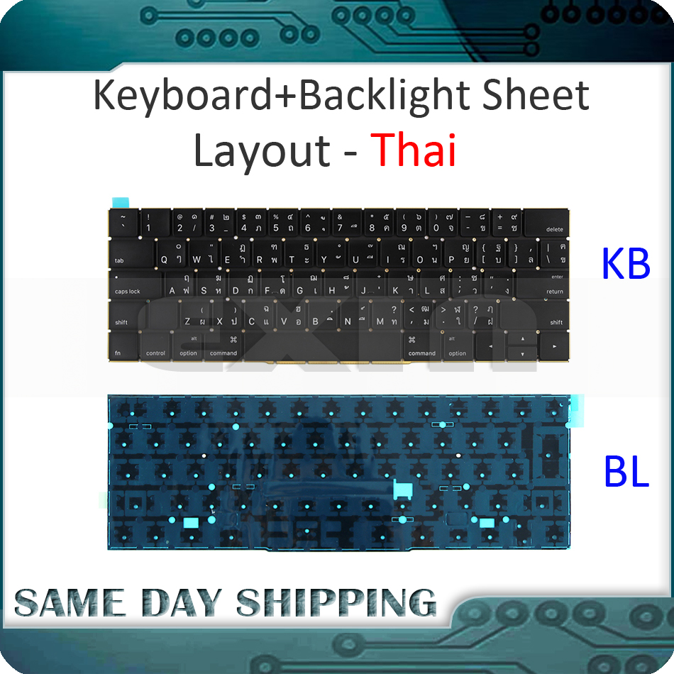New for MacBook Pro 13.3 Retina A1706 Thailand Thai Keyboard w/ Backlight Backlit 2016 2017 MLH12 MPXV2 EMC3071 EMC3163 new a1706 keyboard uk english eu euro backlit backlight for macbook pro 13 3 retina 2016 2017 mlh12 mpxv2 emc3071 emc3163