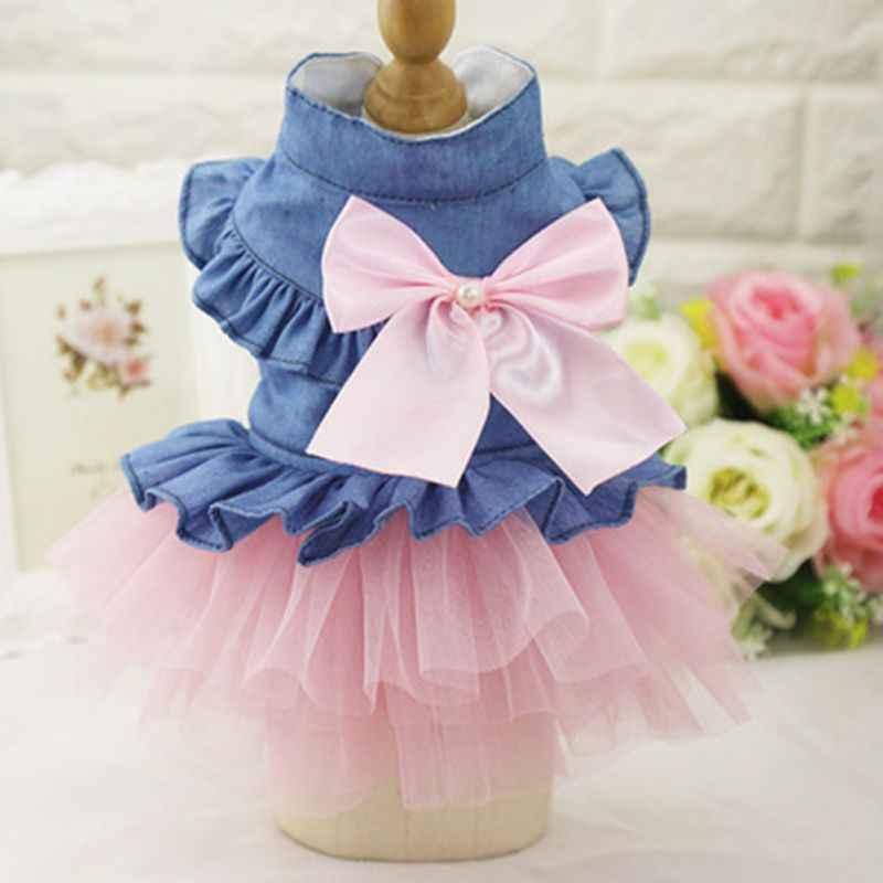 2018 забавная Одежда для собак джинсовое платье модная юбка для собак Одежда для маленьких собак кошка Весна Лето Удобная одежда