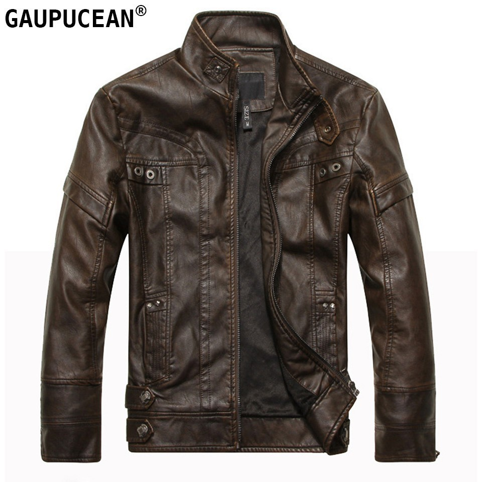 Man PU Jacket Winter Fleece High Quality Zipper Thick Cotton Padded Coat Pockets Brown Coffee Black Male Men Leather Jackets