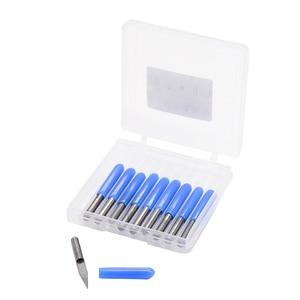 Image 1 - 10pcs/lot V Shape flat bottom Carbide PCB Engraving Bits 3.175 shank 10 degree 0.1mm 15 degree 0. 2mm 20 degree 90 degree 0.1mm