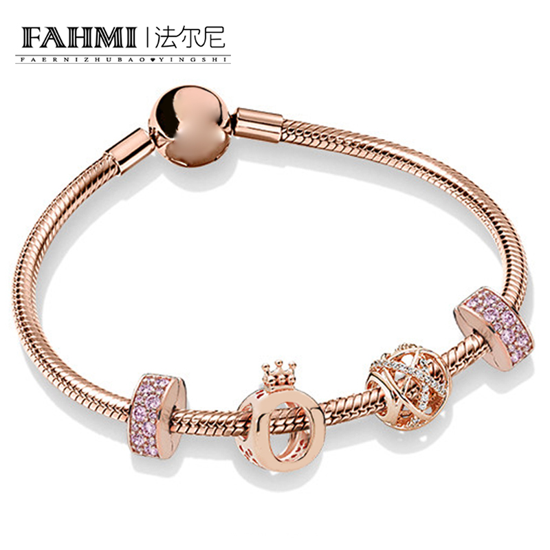 FAHMI 100% 925 Sterling Silver Rose Gold Flashing Hollow Elegant Charm Crown Beaded Women Bracelet Set Original Jewelry ZT0246FAHMI 100% 925 Sterling Silver Rose Gold Flashing Hollow Elegant Charm Crown Beaded Women Bracelet Set Original Jewelry ZT0246