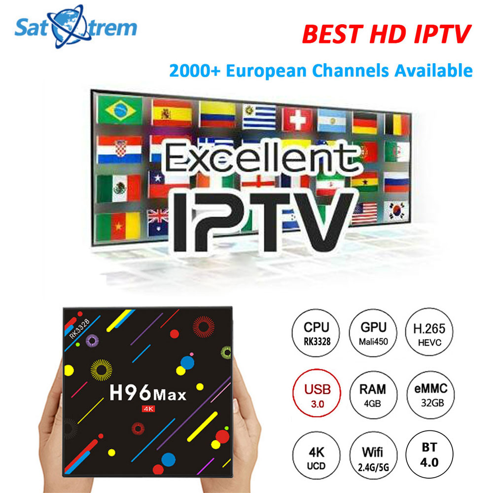 H96 Max H2 Android 7.1 TV Box With 2000+ Europe Arabic France IPTV Subscription Smart IPTV Top Box Support KODI 17.3 4K 5G WIFI
