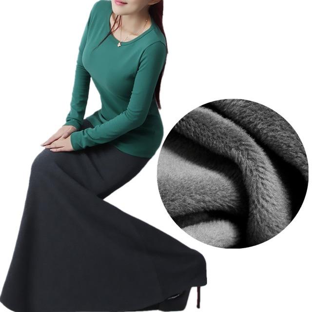 Мода 2017 г. женские теплые флисовые Юбки для женщин осень-зима новый тонкий женщина миди длинные черные Русалка Юбки для женщин леди Повседневное Макси Юбки для женщин jupes