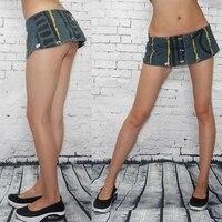 Sexy Women Stripe A Line MINI Jean Skirt Low Rise Waist Denim Skirt Micro Mini Skirt