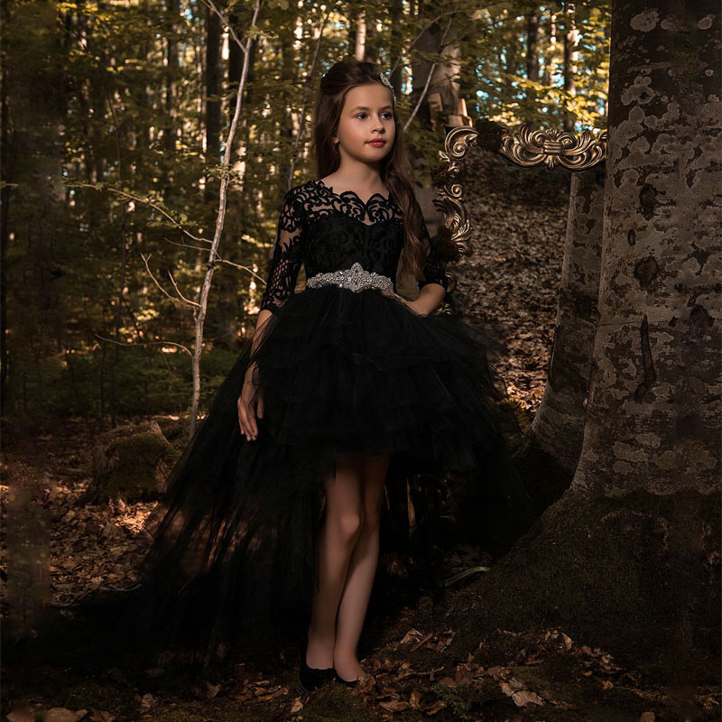 Fashion Black Hi-lo Long Sleeves Girs Pageant Ball Gowns with Train Lace Appliques V Back Style Kids Prom Dress with RhinestonesFashion Black Hi-lo Long Sleeves Girs Pageant Ball Gowns with Train Lace Appliques V Back Style Kids Prom Dress with Rhinestones