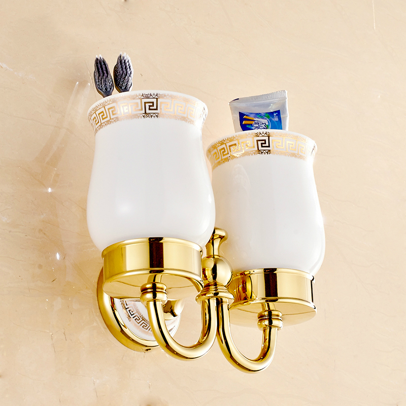 Vintage Copper Polished Double Cup Holder European Gold Porcelain Toothbrush Holder Wall Mount Bathroom Accessories dx6 image