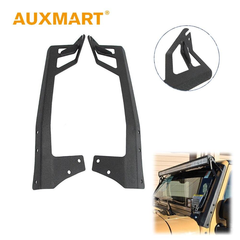 Auxmart 52 A-Pillar Curved led Light Bar Mount Steel upper Windshield Mounting Brackets Car Offroad Base For Jeep Wrangler JK