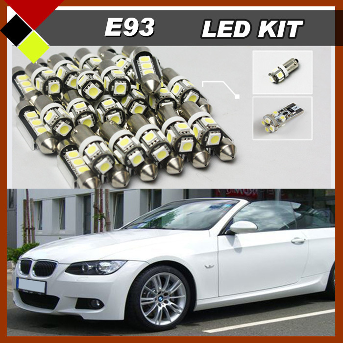 16 Pcs Car Canbus Bulbs SMD LED Kit Glove Box Map Dome Trunk License Plate Door Lights White Package Fit For BMW E93 3 Series super bright car styling 9pcs car led kit interior glove box light for 2014 2015 kia sorento trunk dome map license plate lights