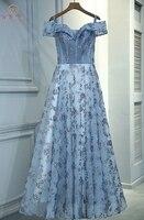Walk Beside You Blue Evening Dresses robe de soiree longue 2018 Sequined Long Off Shoulder Transparent A line Prom Gowns Party